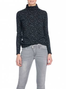 RAGDOLL LA TOP LEOPARD TURTLENECK BLACK
