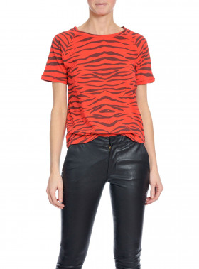 RAGDOLL LA TOP VINTAGE RAGLAN FADED RED ZEBRA
