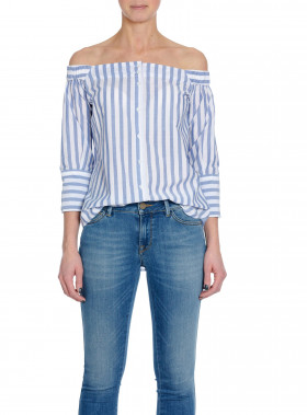 HUNKYDORY TOP LUCILLE BLUE/WHITE STRIPE