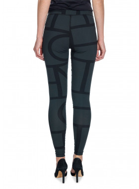 TOTÊME LEGGINS LEON PRINTED TIGHTS BLACK MONOGRAM