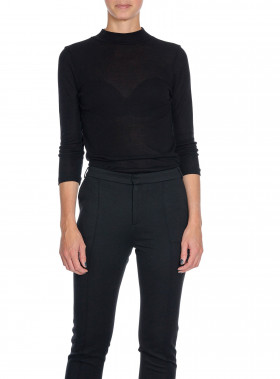 FILIPPA K TOP 3/4 SLEEVE MOCK NECK BLACK