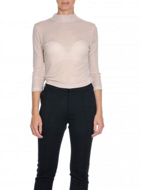 FILIPPA K TOP 3/4 SLEEVE MOCK NECK PEBBLE