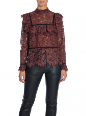 GANNI BLUS JEROME LACE DECADENT CHOCOLATE