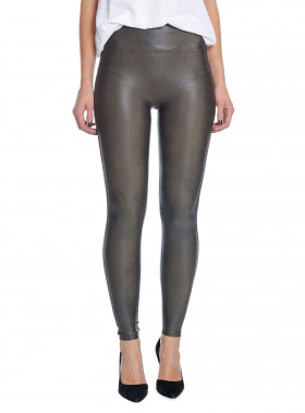 SPANX LEGGINGS LEATHER LOOK GUNMETAL