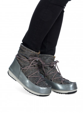 MOON BOOT W.E LOW LUREX GRIGIO-ARGENTO