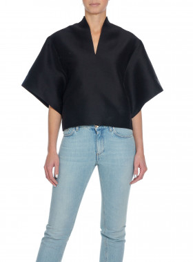 TOTÊME TOP AZZURO FRONT SLIT SILK BLACK