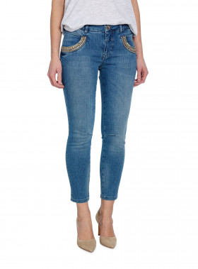 MOS MOSH JEANS NAOMI SHINE SPLIT 7/8 LIGHT BLUE DENIM