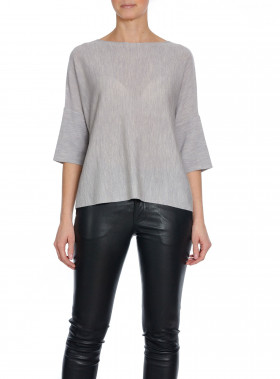 CATHRINE HAMMEL TOP WIDE LIGHT GREY MELANGE