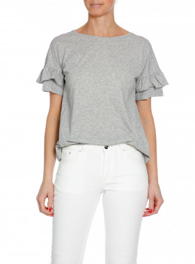 HUNKYDORY TOP ZOEY FRILL LIGHT GREY MELANGE