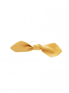 CORINNE HÅRBAND LEATHER BOWTIE YELLOW