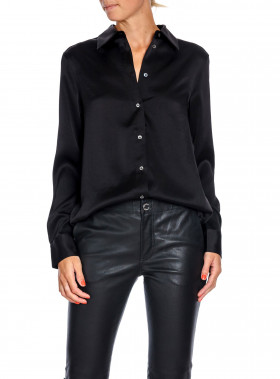 FILIPPA K SKJORTA SHINY SATIN BLACK