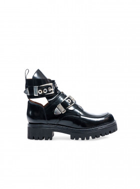 HENRY KOLE BOOTS MELANIE BLACK LEATHER